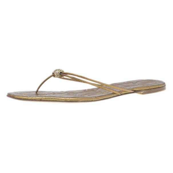 Carolina Herrera Gold Monogram Leather Thong Sandals Size 40