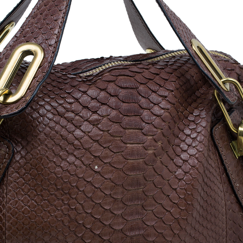 Chloe Brown Python Large Paraty Tote Bag