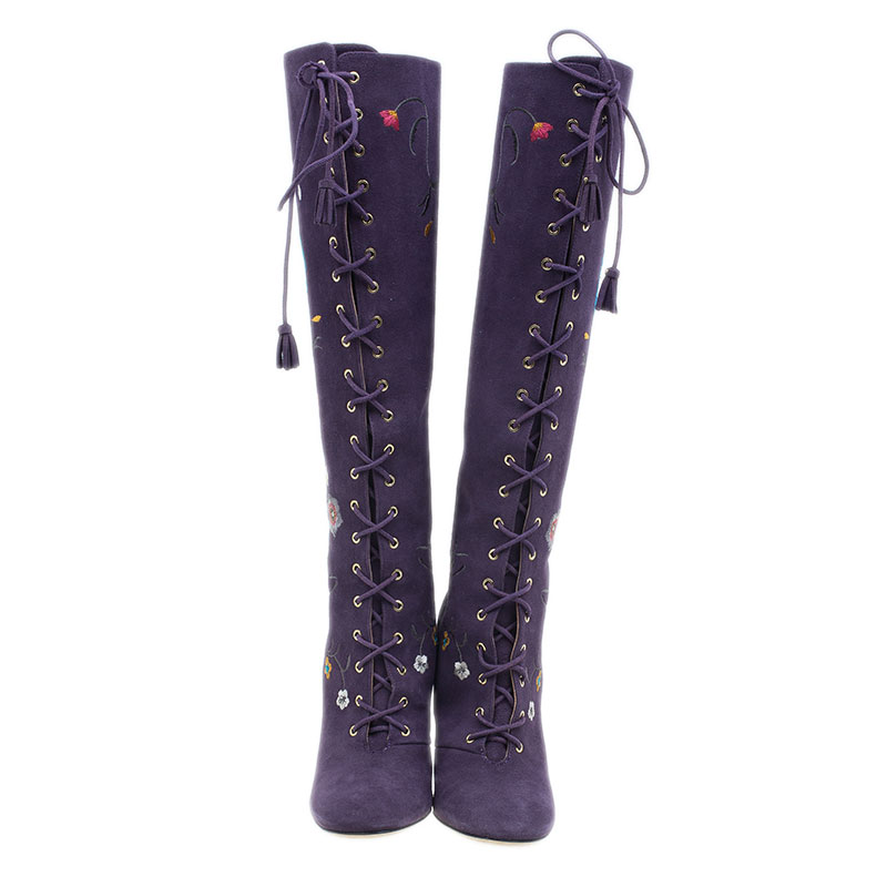 Jimmy Choo Purple Suede Floral Embroidered Colorado Knee Boots Size 38