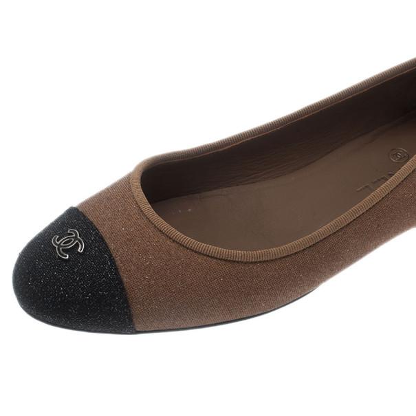 Chanel Beige Glitter Canvas CC Cap Toe Ballet Flats Size 38