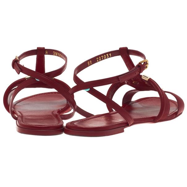 Saint Laurent Paris Red Leather New Ycon Sandals Size 38