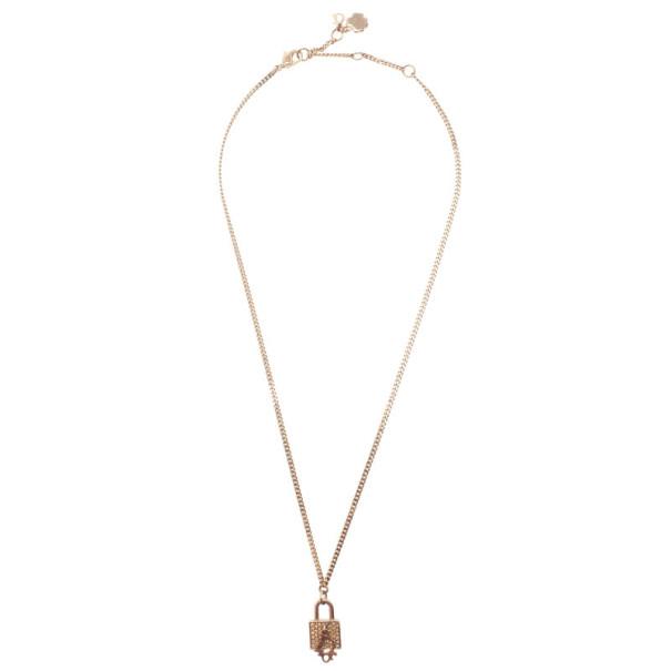 Dior Lock Crystal Pendant Necklace