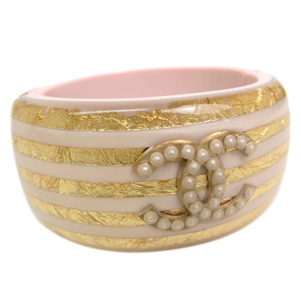 Chanel Pink & Gold Strips Pearl CC Resin Bangle S