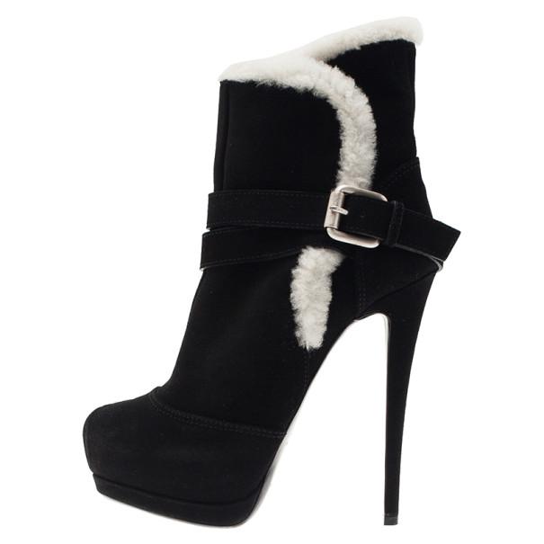 Giuseppe Zanotti Black Suede Fur Trim Ankle Boots Size 37