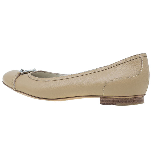 Gucci Beige Leather Ballet Flats Size 38.5
