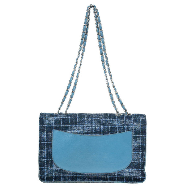 Chanel Blue Tweed Jumbo Flap Bag