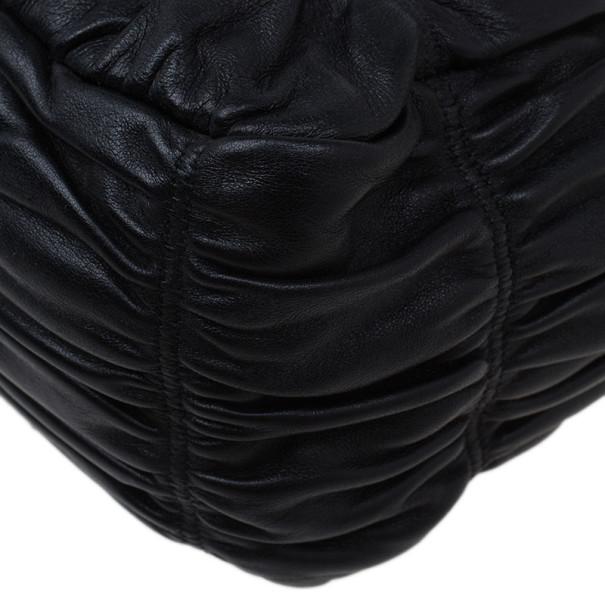 Prada Black Ruched Nappa Leather Chain Detail Shoulder Bag