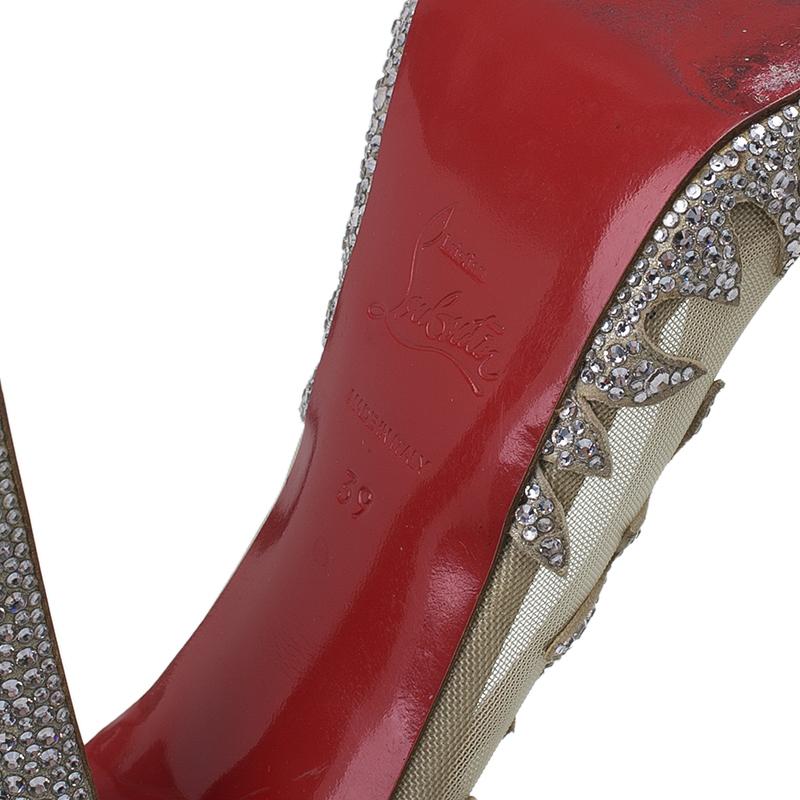 Christian Louboutin Silver Marlena Lili Marlene Strass Mesh Pumps Size 39