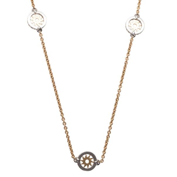 Bvlgari Tondo Sun Stainless Steel and 18K Yellow Gold Sautoir Necklace