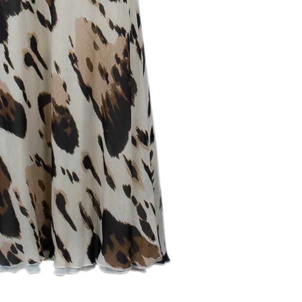 Roberto Cavalli Animal Print Silk Top and Skirt Set M