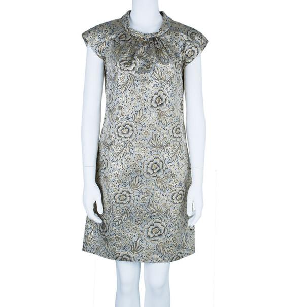 Burberry Gold Brocade Shift Dress M