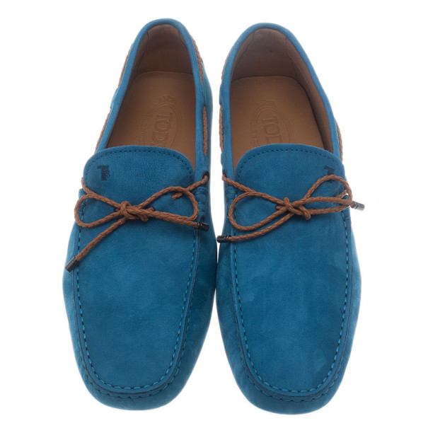 Tod's Blue Suede Bow Loafers Size 43.5
