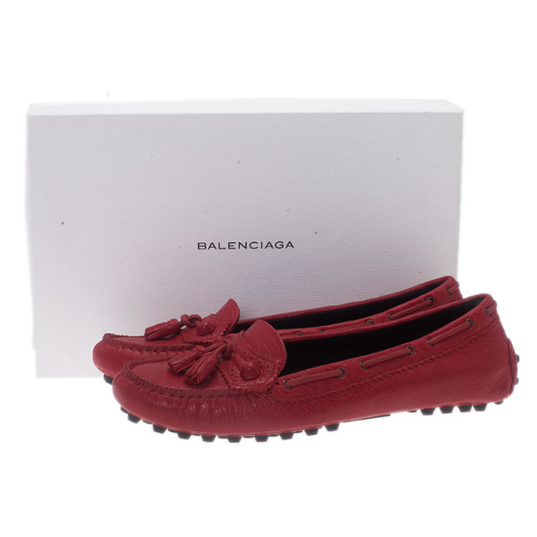 Balenciaga Red Leather Arena Brogue Loafers Size 38.5