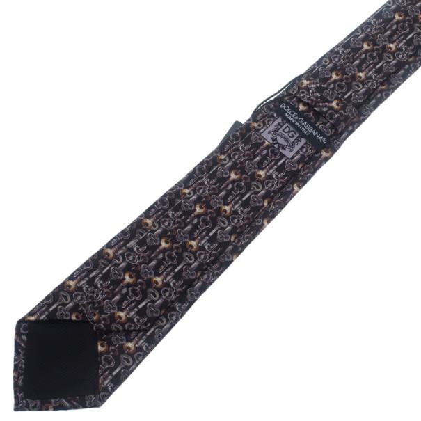 Dolce and Gabbana Black Key Print Silk Tie