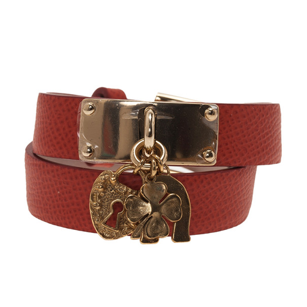 Dolce and Gabbana Good Luck Charms Orange Leather Bracelet M