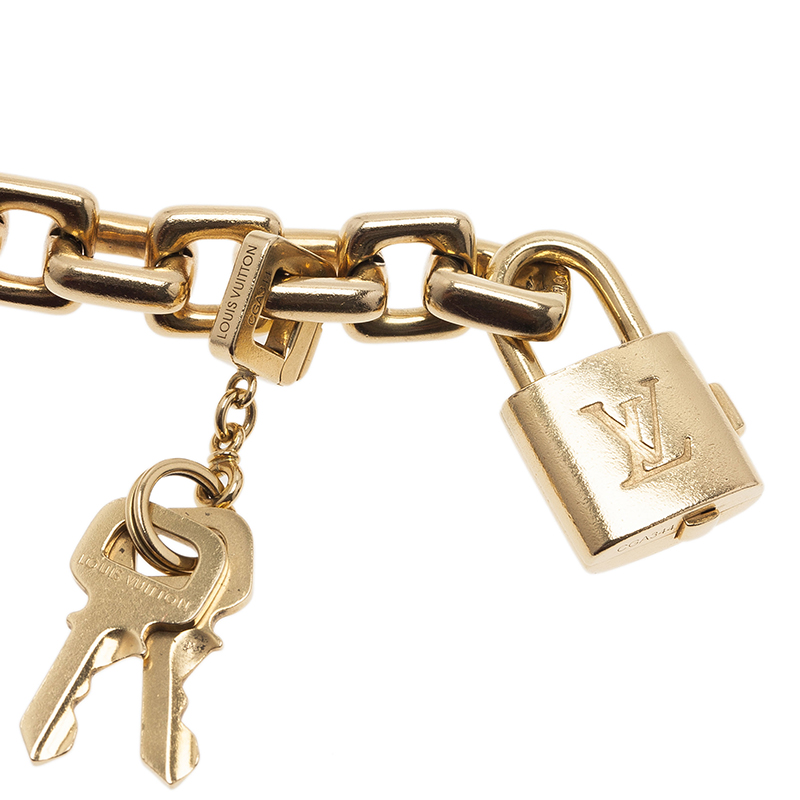 Louis Vuitton Padlock and Key Yellow Gold Bracelet