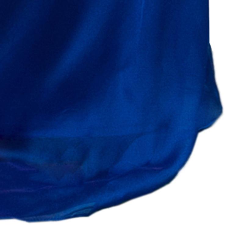 Tadashi Shoji One Shoulder Blue Gown L
