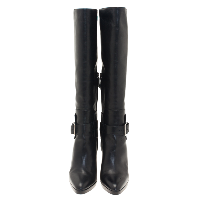 Hermes Black Leather Buckle Detail Tall Boots Size 39