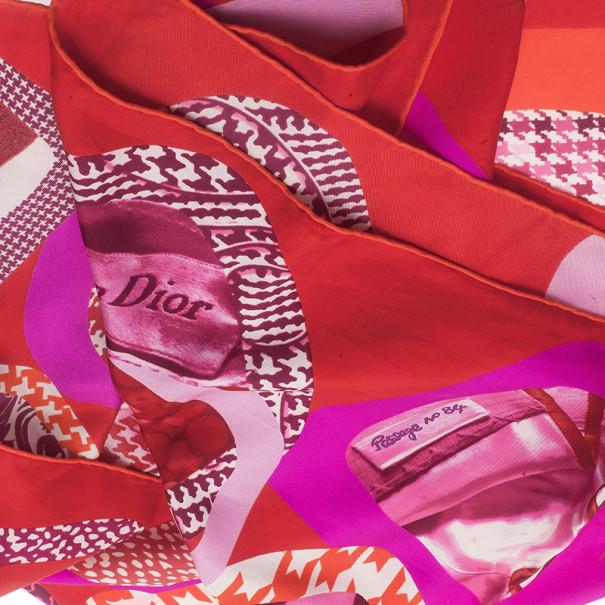 Dior Pink Printed Passage No 84 Square Scarf