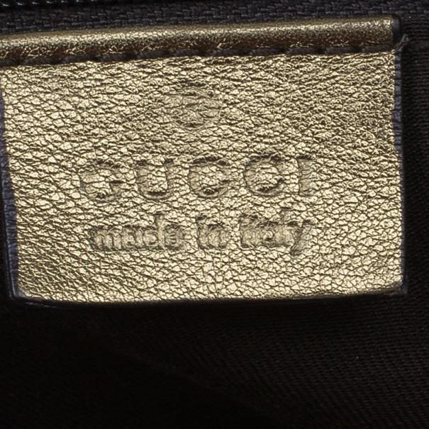 Gucci Metallic Gold Canvas Princy Tote