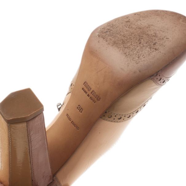 Miu Miu Beige Patent Leather Brogue Pumps Size 38