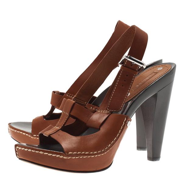Celine Brown Leather Slingback Sandals Size 38