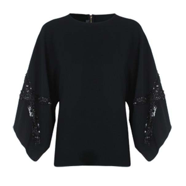 Elie Saab Black Wide-Sleeved Top M