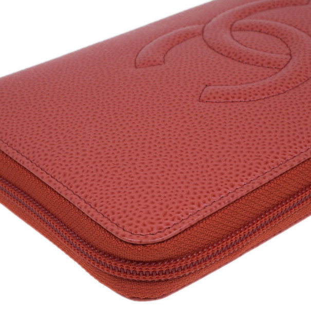Chanel Red Caviar Leather Continental Zip Around Wallet