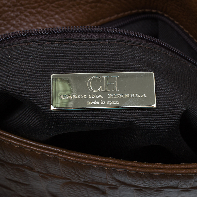 Carolina Herrera Brown Leather Audrey Shoulder Bag