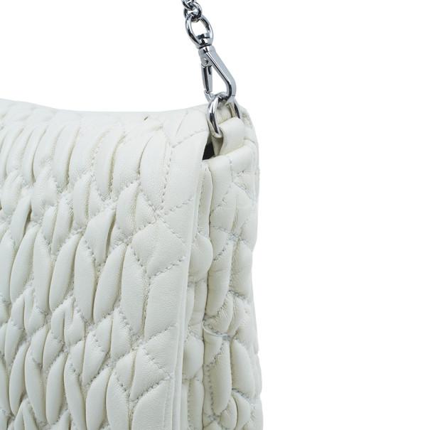 Miu Miu Creme Leather Large Madras Shoulder Bag