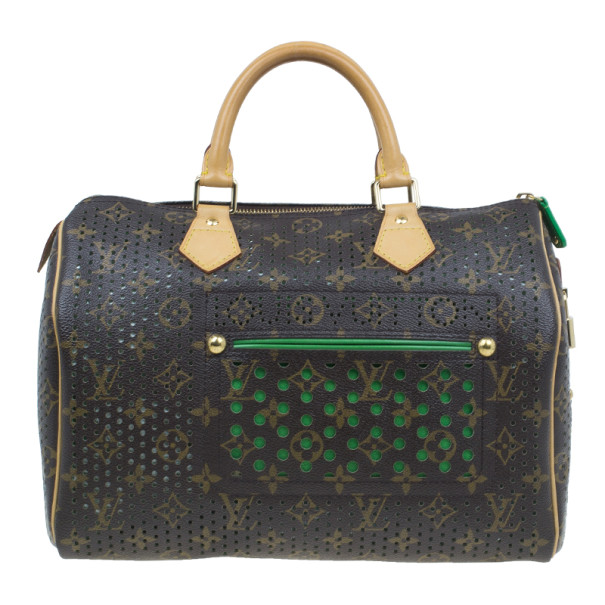 Louis Vuitton Green Perforated Monogram Canvas Speedy 30 Bag Limited Edition