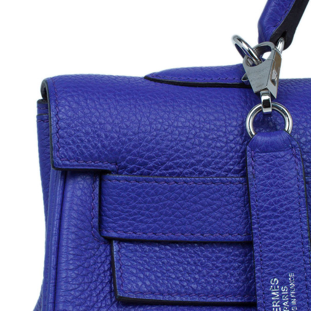 Hermes Bleu Royale Cuir Palladium Hardware Kelly 40