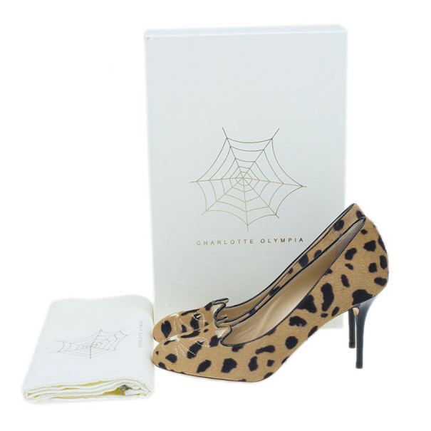 Charlotte Olympia Leopard Pony Hair Kitty Embroidered Pumps Size 39