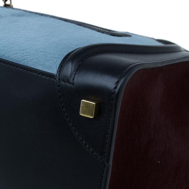 Celine Tricolor Pony Hair Mini Luggage Tote