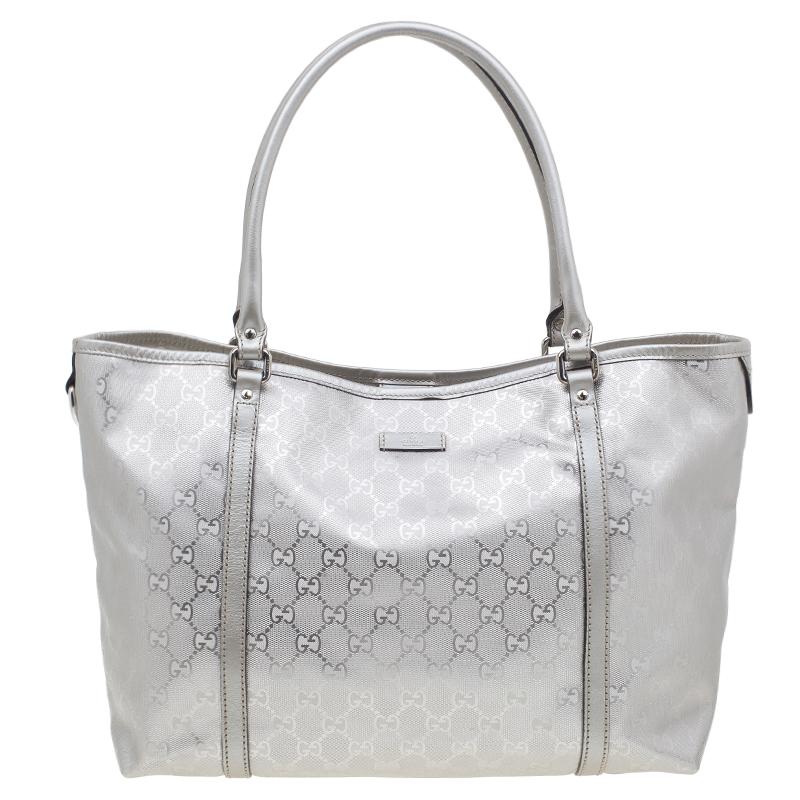 Gucci Silver Crystal Monogram Medium Tote