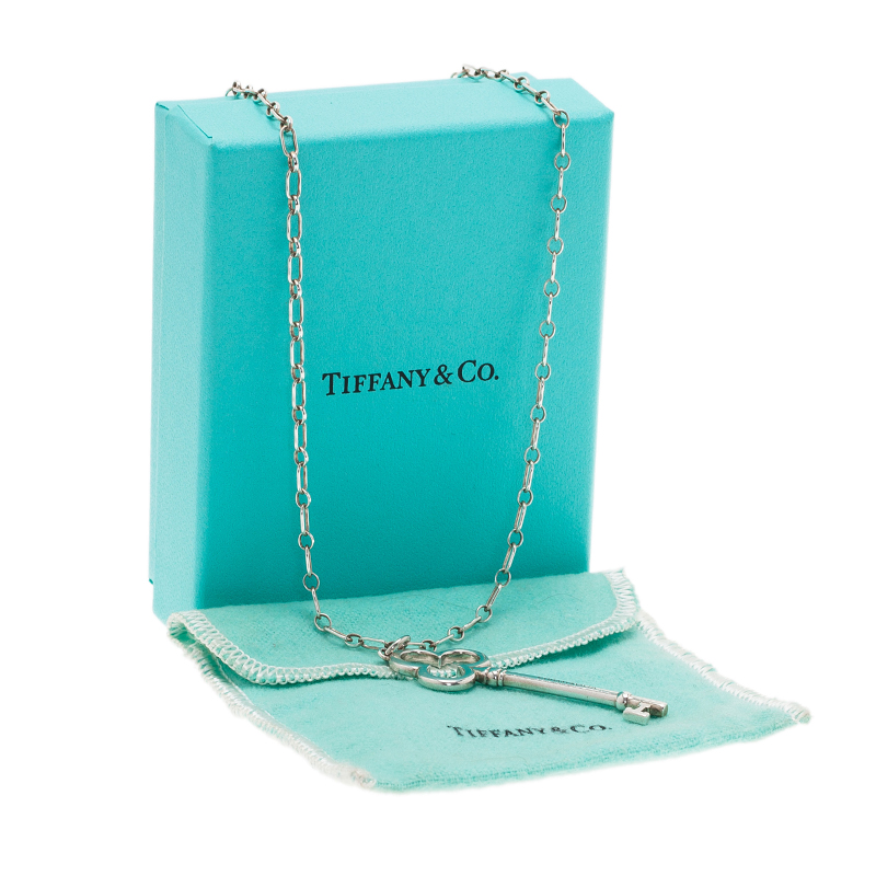 Tiffany & Co. Trefoil Key Silver Pendant Necklace