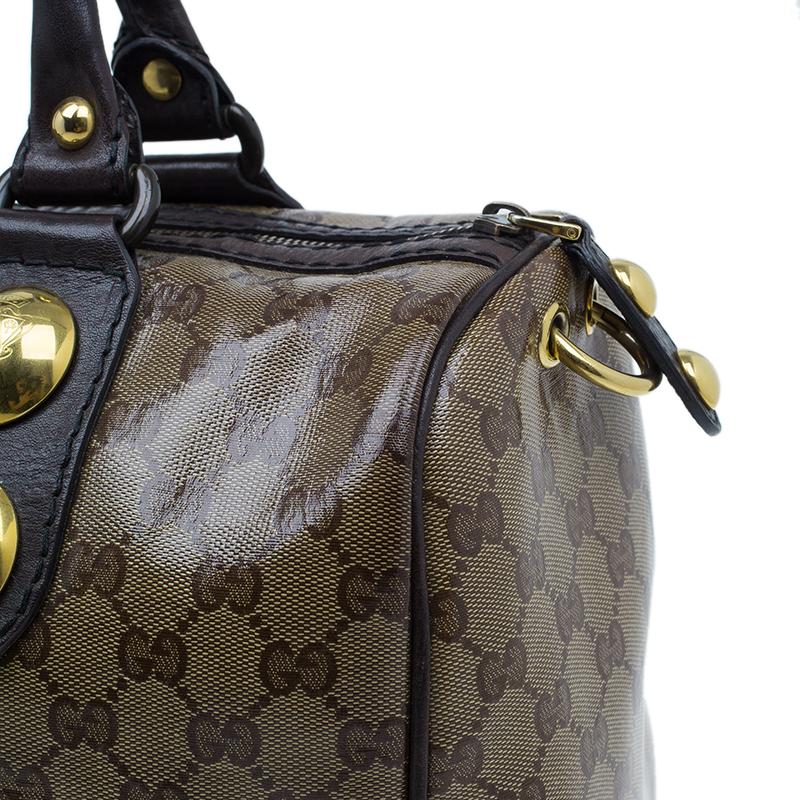 Gucci Brown Monogram Crystal Coated Canvas Babouska Boston Bag