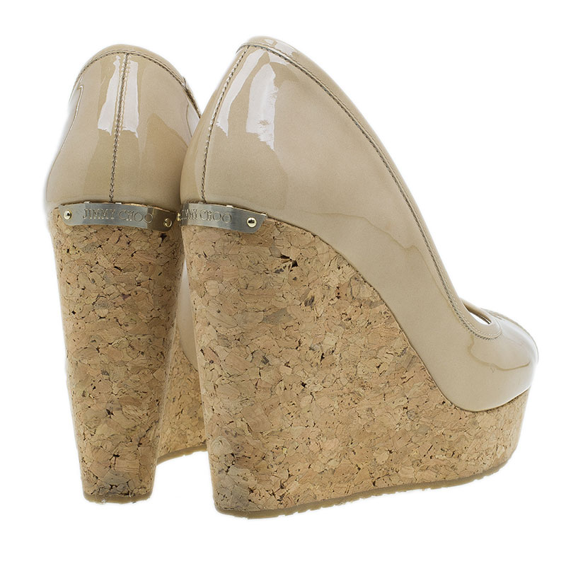 Jimmy Choo Nude Patent Papina Cork Wedge Pumps Size 38.5