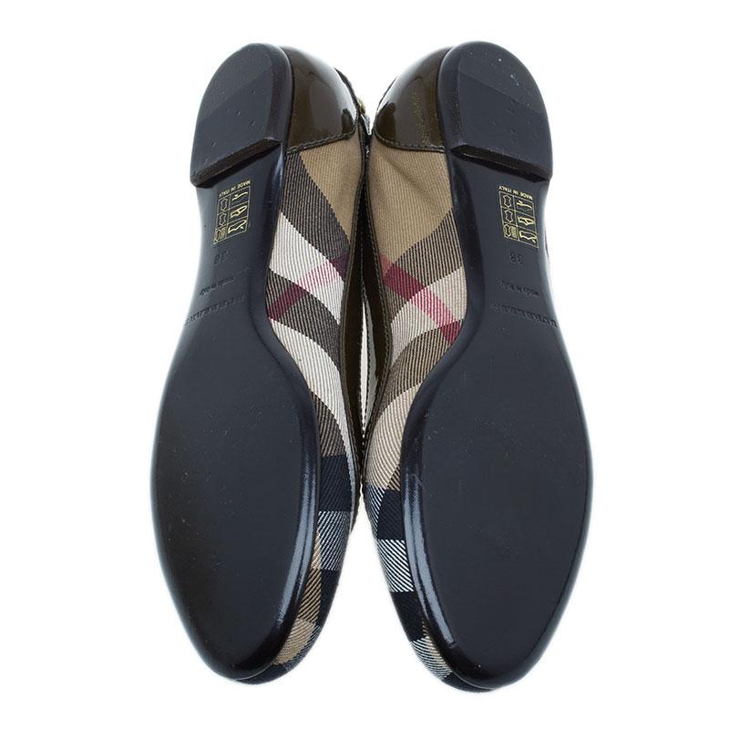Burberry Novacheck Canvas Ballet Flats Size 38