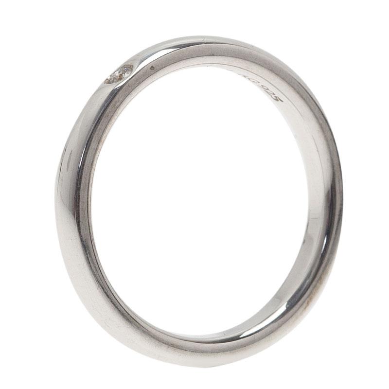 Tiffany & Co. Elsa Peretti Diamond Silver Band Ring Size 50.5