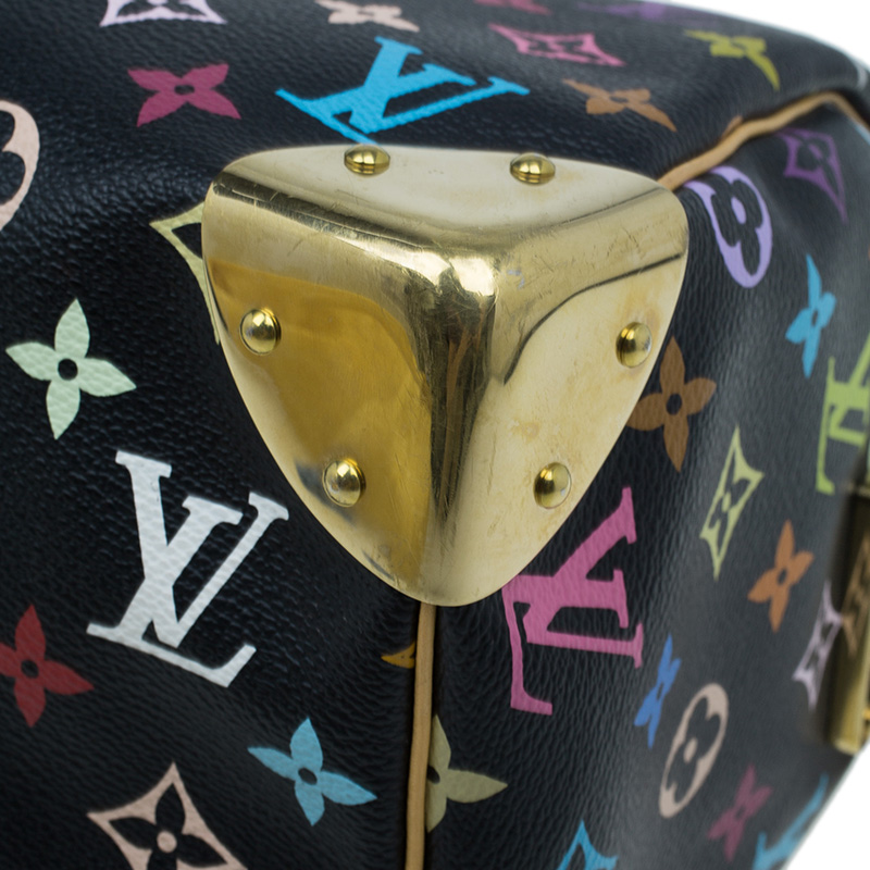 Louis Vuitton Black Multicolore Monogram Canvas Speedy 30
