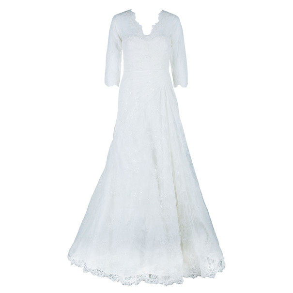 Elie Saab Lace Pleated Wedding Dress L