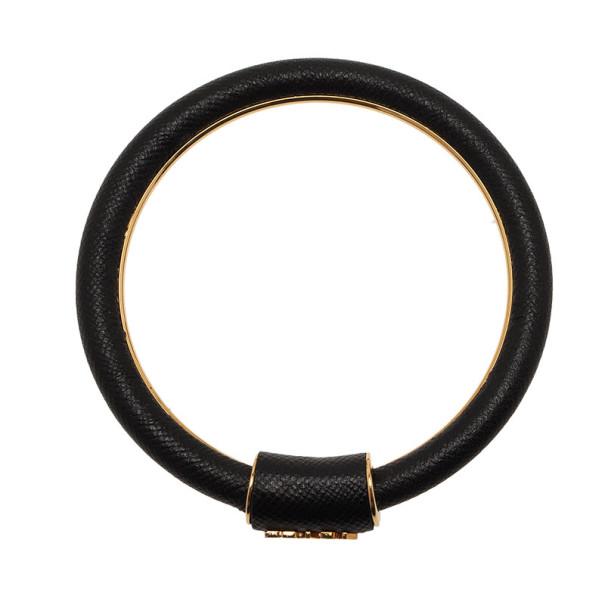 Prada Saffiano Black Leather Cuff Bracelet 18CM