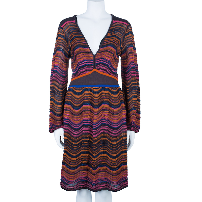 M Missoni Multicolor Wave Knit Short Dress L