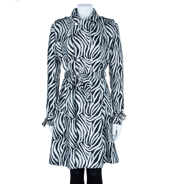 Class by Roberto Cavalli Monochrome Belted Coat M