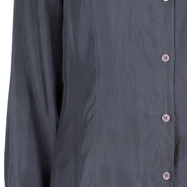 Emporio Armani Grey Silk Collared Shirt M