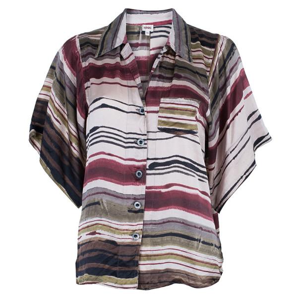 Kenzo Multicolor Stripe Printed Silk Shirt L