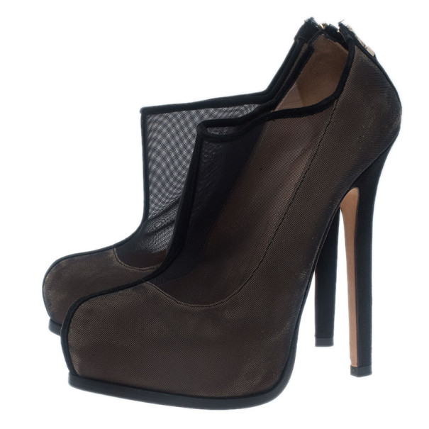 Fendi Black Mesh Ankle Boots Size 37