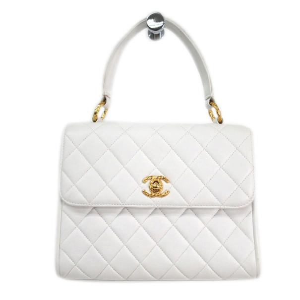 Chanel White Lambskin Top Handle Bag