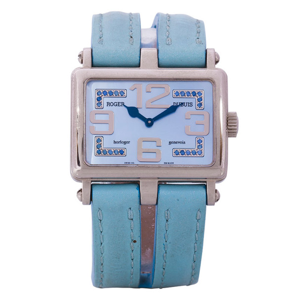 Roger Dubuis Blue 18K White Gold Too Much Women's Wristwatch 30MM